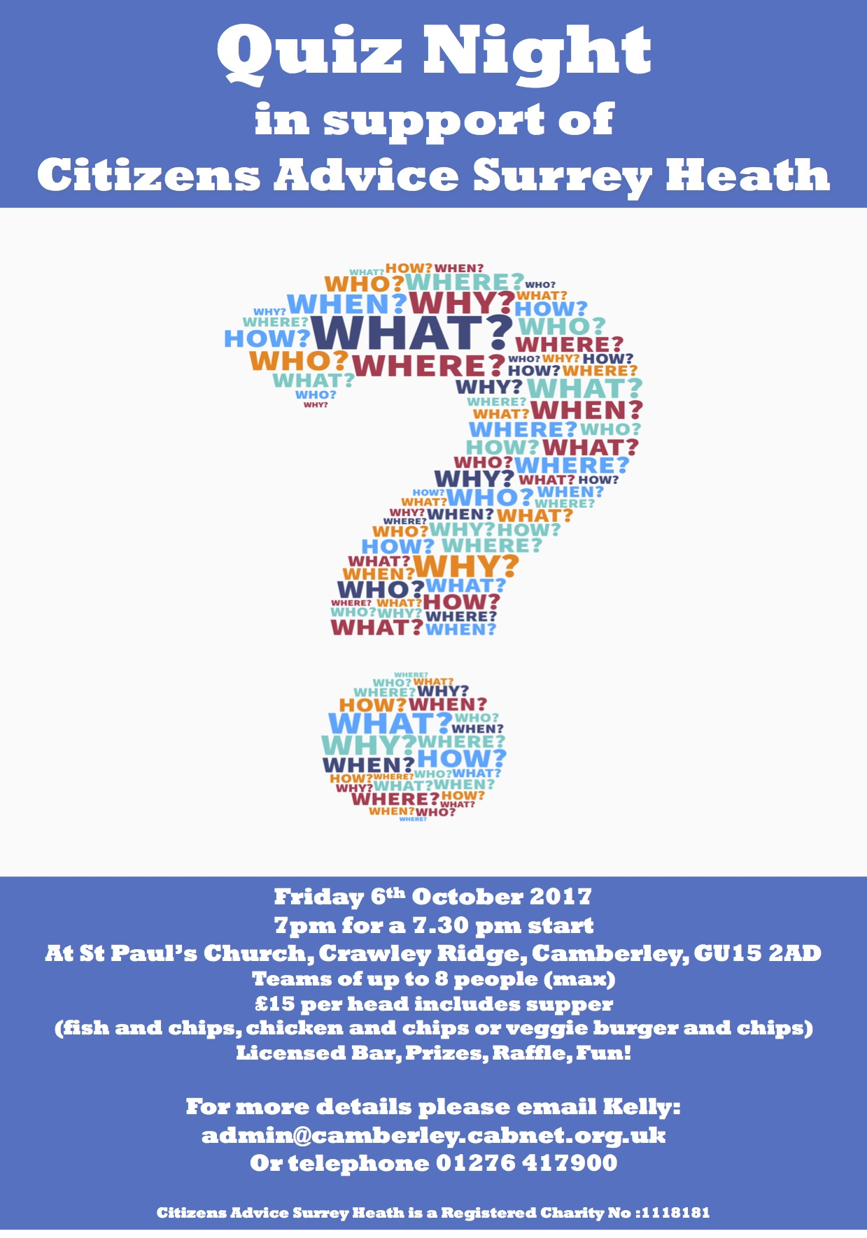 citizens advice surrey heath quiz night poster